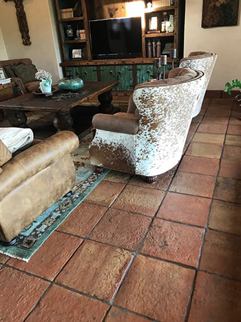 Heritage hand made clay antique tile in the Hill Country home.