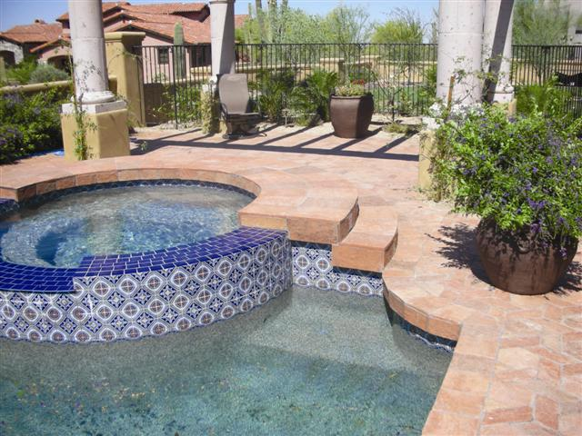 Terracotta tiles used as pool deck tile.