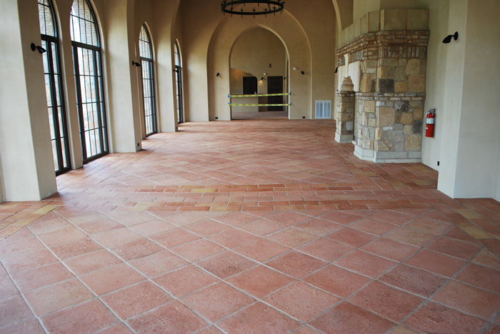 Terracotta tiles installed in a Tuscany style Contry club.