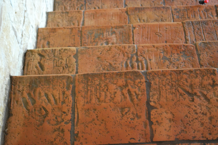 Hand made clay terracotta steps.